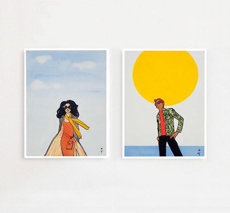 Vintage Fashion Prints Summer - Retro Art Posters Fashion, Living Room Wall  Decor, Bedroom Posters, Nautical Wall Art, Vogue Illustrations