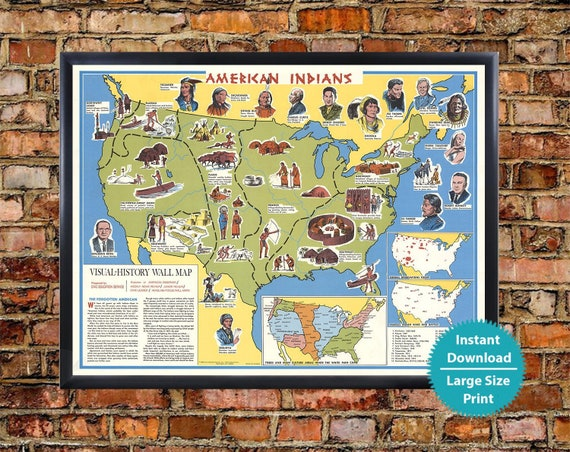 Native American Map of Tribes - Old Poster of Indian Tribes Download, Old  Pictorial Map Nakoma Native Americans Map Historical Print Digital