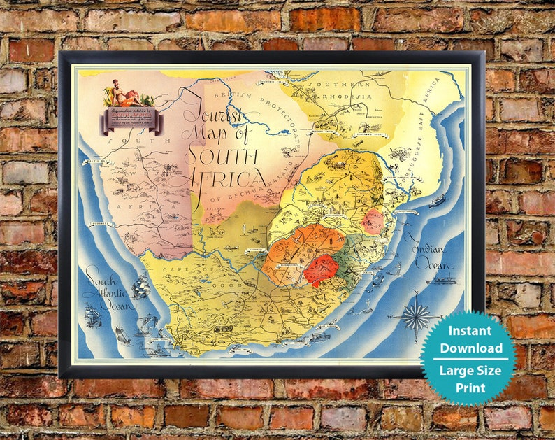 Map of South Africa Continent - Vintage Tourist Map of South Africa Art  Print Digital, South Africa Map Download Illustrated Poster Map