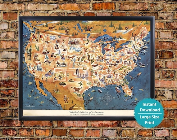 Us Map Funny.Usa Map Funny Print Digital Kids Map Of America Nursery Wall Etsy