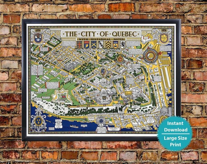 Map Of Canada Quebec City.Quebec City Art Map Old Map Of Quebec City Canada Pictorial Map Quebec City Map Poster City Of Quebec Wall Art Retro Map Print Of Quebec