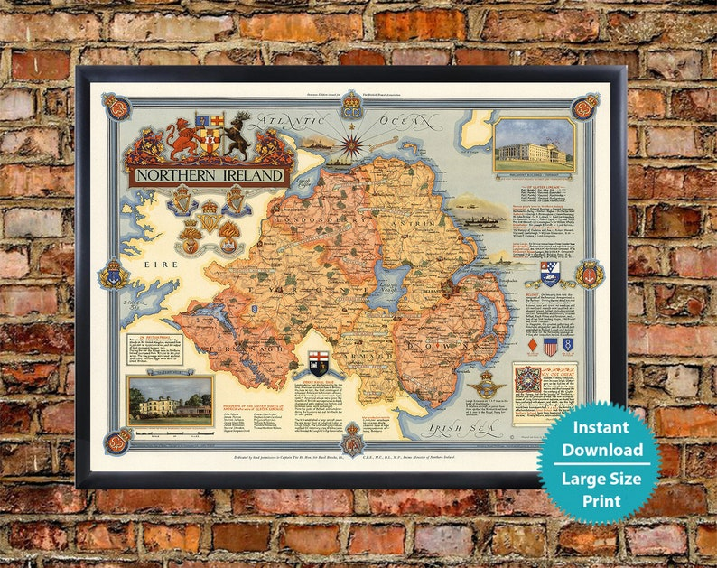 Ireland Points Of Interest Map.Northern Ireland Map Art Print Old Map Of Northern Ireland Poster Download Northern Ireland Wall Art Decor Historical Pictorial Map