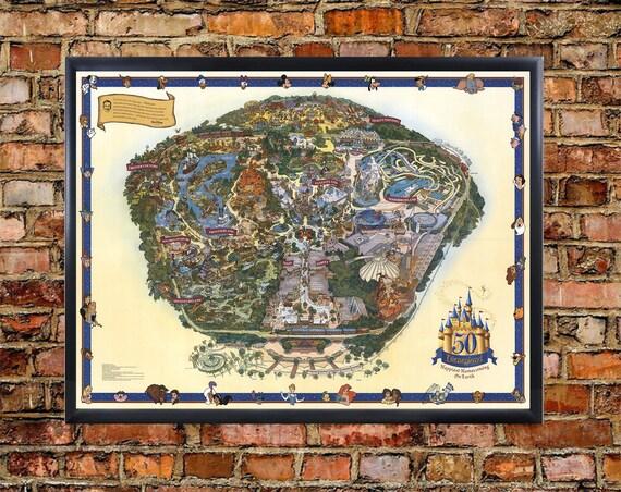 Disney Map Poster 2005 Vintage DISNEY WORLD Park Map Print | Etsy