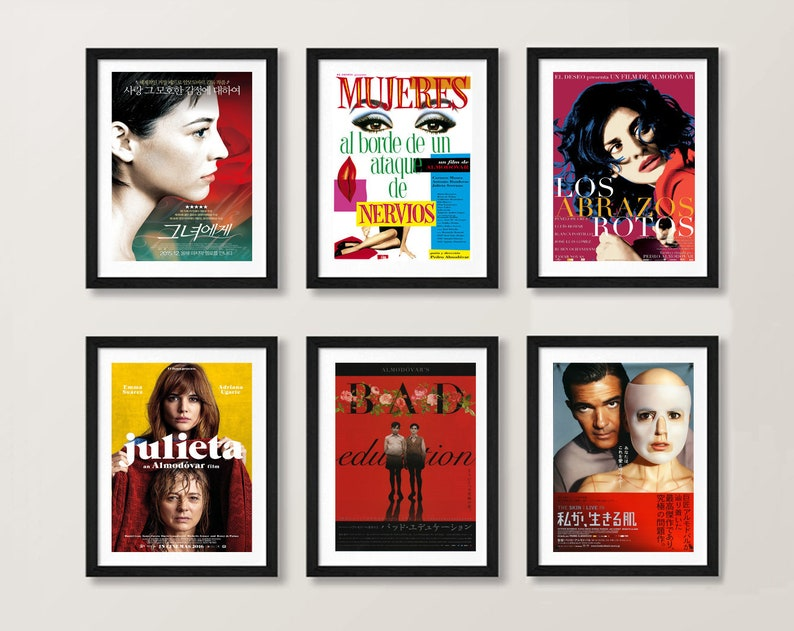 Pedro Almodovar Movie Posters - Broken Embraces, Skin I live in Volver,  Julieta Bad Education Women on the Verge Talk to her Cinema Wall Art