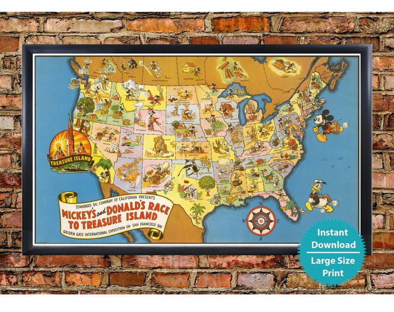 Us Disney Kids Map Detailed Usa Art Mickey Mouse Donald Etsy - Us-map-for-kids