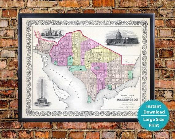 Washington Dc Map Download.Georgetown Washington Dc Map Art Print Digital Vintage Etsy
