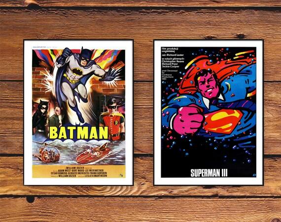 Batman Movie Posters Superman Art - Vintage movie posters Batman Print, Retro Superman Poster Digital, Classic Batman Superman Film Prints