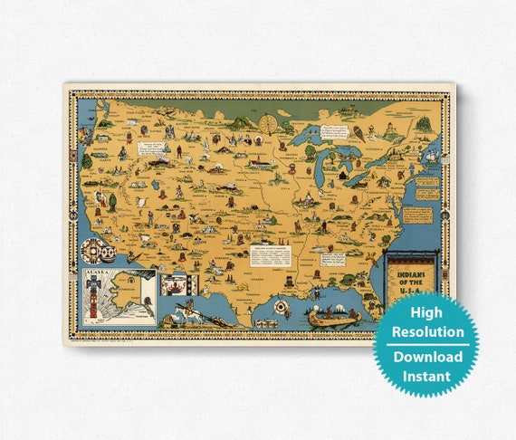 Native American map, native american tribes map 1944 US map of native  americans old map of indian tribes vintage map of America reservations