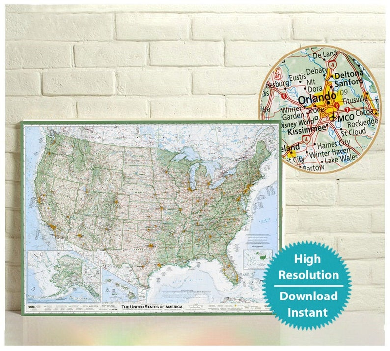 Map of the United States - US Large Map Download, Original Map of the Usa,  Geographic Print of the US, Detailed Map of America, Digital File