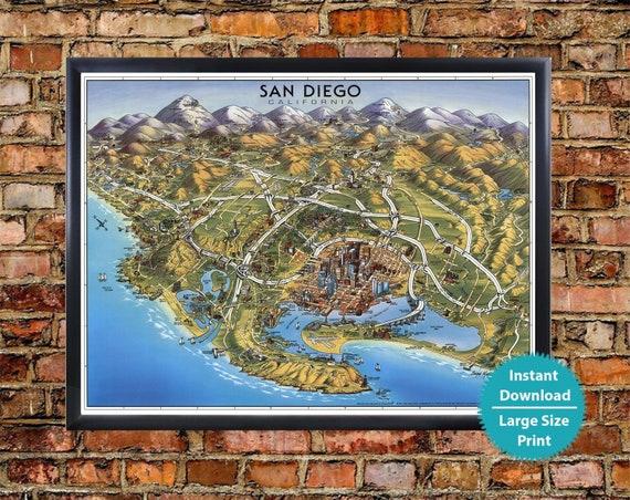 San Diego Map Art - Old San Diego State Poster Vintage San Diego Print,  Pictorial Map of San Diego Art Print Download, US Map Digital
