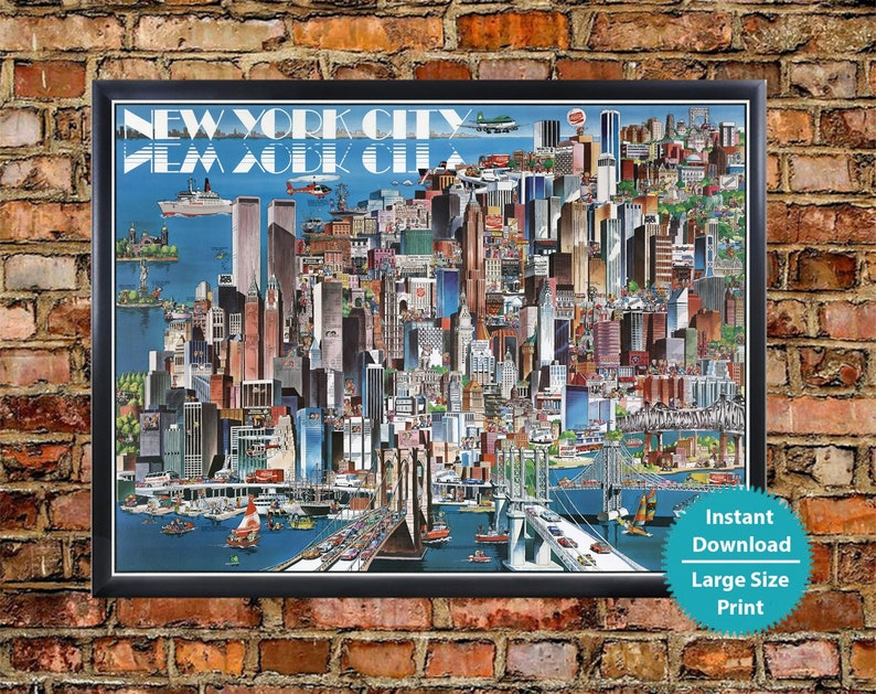 Map Of New York City With Landmarks.New York Map Wall Art Old Poster Of New York City Vintage New York Map Print Retro Print New York Pictorial City Map Wall Art Download