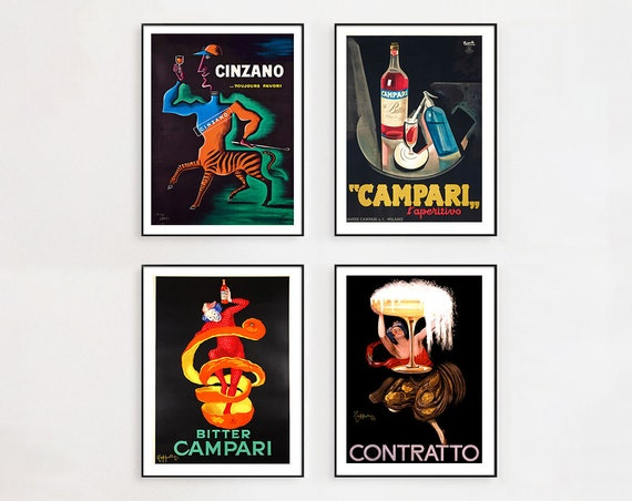 Vintage French Liquor A0 LARGE Poster Art  PRINT  Bitter Campari painting