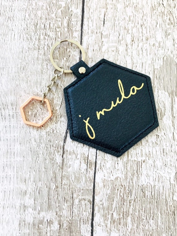 Personalised Photo Picture Faux Leather Black Keyring