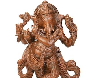 "Ganesh, Handmade, Carved Wooden Idol, 18"", Ganapati, Hindu Deity, Indian, home decor, Wooden Idol, Wooden Statue, Ganesha"