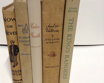 5 vintage decorative tan beige books