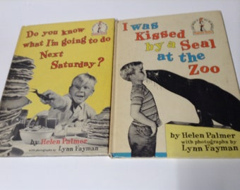 2 vintage beginner books I Was Kissed by a Seal at the Zoo and Do You Know What I'm Going to Do Next Saturday? by Helen Palmer