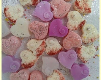 """6 Heart Shaped Wax Melts Handmade using 100% Soy Wax, Sprinkled and Fragranced with the simple but everso delicious """"Vanilla"""""""