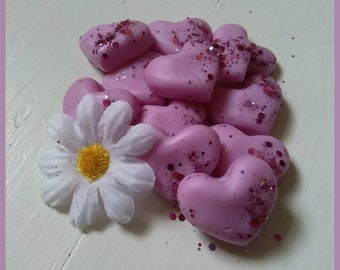 """6 Heart Shaped Wax Melts Handmade using 100% Soy Wax, Sprinkled and Fragranced with the magic of """"Fantasy"""""""