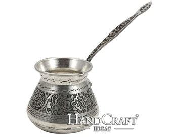 Handmade Copper Turkish Coffee Pot with Brass Handle, Cezve, Jezve, Coffee Maker - (550ml / 18.6 fl. Oz) -(CP-102)