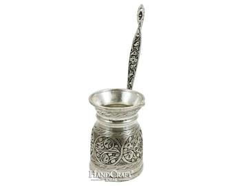Handmade Copper Turkish Coffee Pot with Brass Handle, Cezve, Jezve, Coffee Maker - (400ml / 13.5 fl. Oz) -(CP-107)