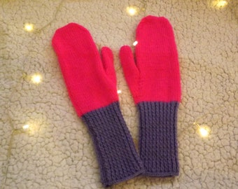 Cosy Bright Pink & Lilac Mittens