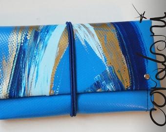 Purse/ Wallet Size L Blue Multicolored