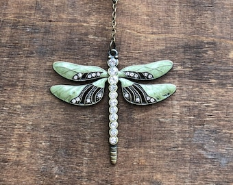 Purse Charm - Green Dragonfly