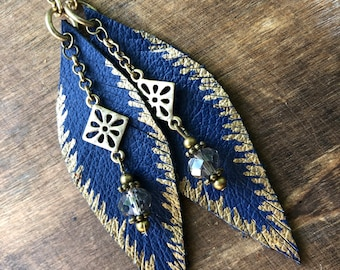 Blue and Gold Feather Earrings - Leather - Boho Earrings - Long Earrings - Gypsy Earrings - Blue Feathers - Classy Feathers - Dangle Feather