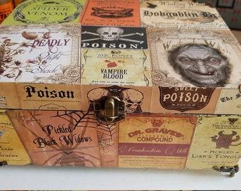 Poison label decoupage box trinket/jewelry/storage/keepsake