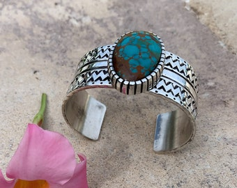 Large Pilot Mountain Cabochon and Sterling Silver Handmade Size 8 12 8.5 Turquoise Ring