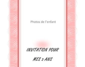 Pink birthday invitation printable