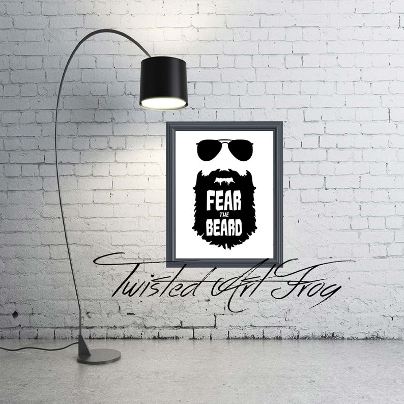 9b84c5c31c2e Fear the beard wall home office garage decor print custom