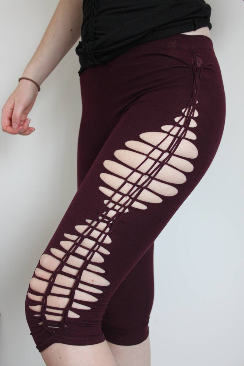 Braided high waisted yoga dance leggings in wine red Acro optical leggings Geometric weave cut out leggings Festivals rave boho hippie