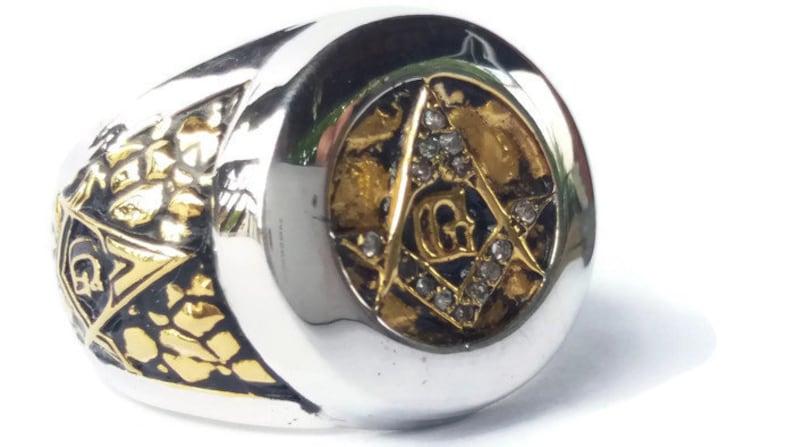 Masonic ring Symbol G, Diamonds on silver 925, Freemason