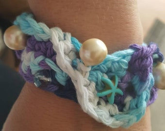 One of a kind boho beach beauty pearls and starfish with tassel end soft beachy