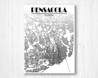 Map Of Pensacola Florida.Pensacola Map Etsy