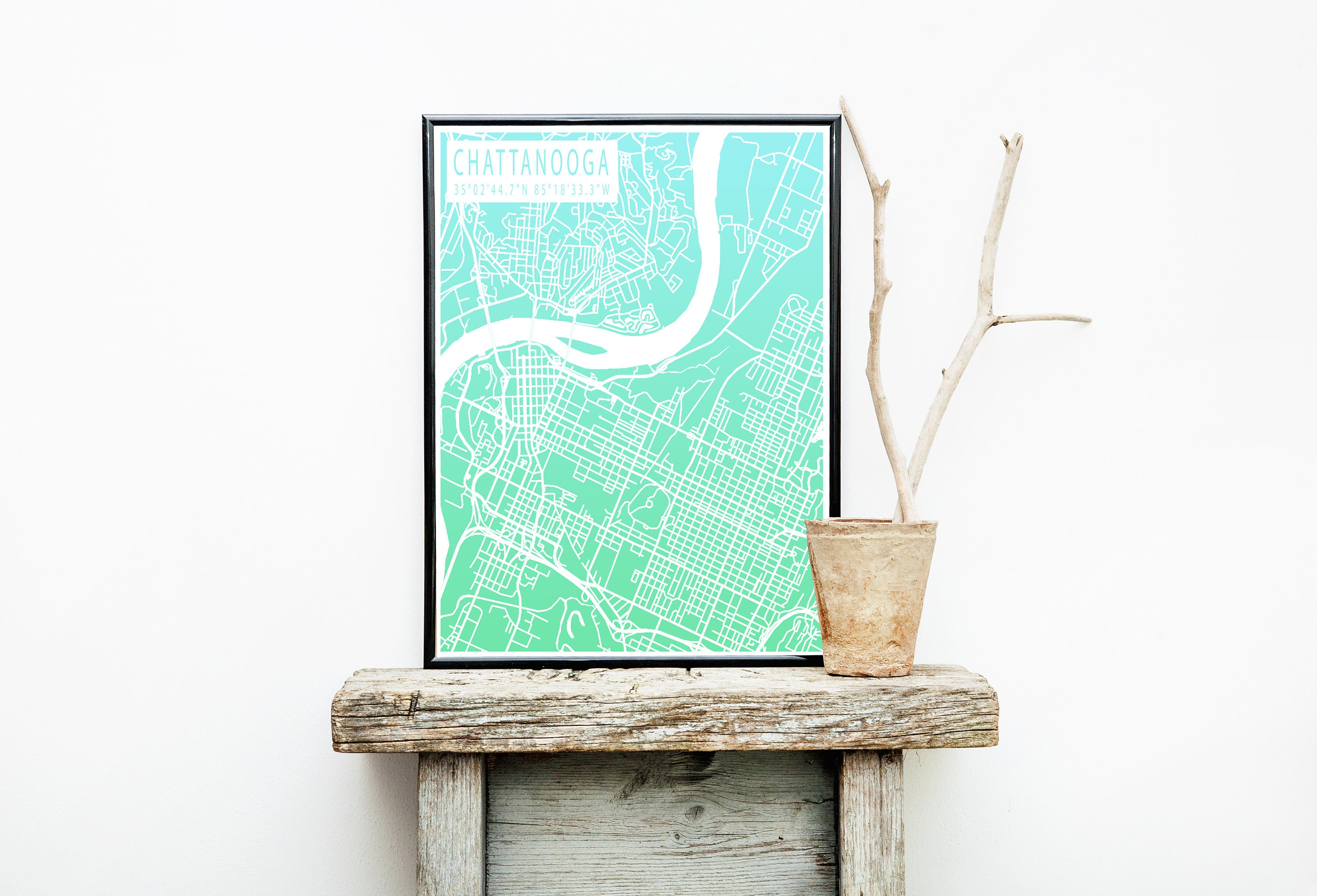 Map of Chattanooga, Chattanooga TN, City Map, Travel Art, Digital Print,  Map Print, Chattanooga Print, Wanderlust, Map Poster, Map Wall Art