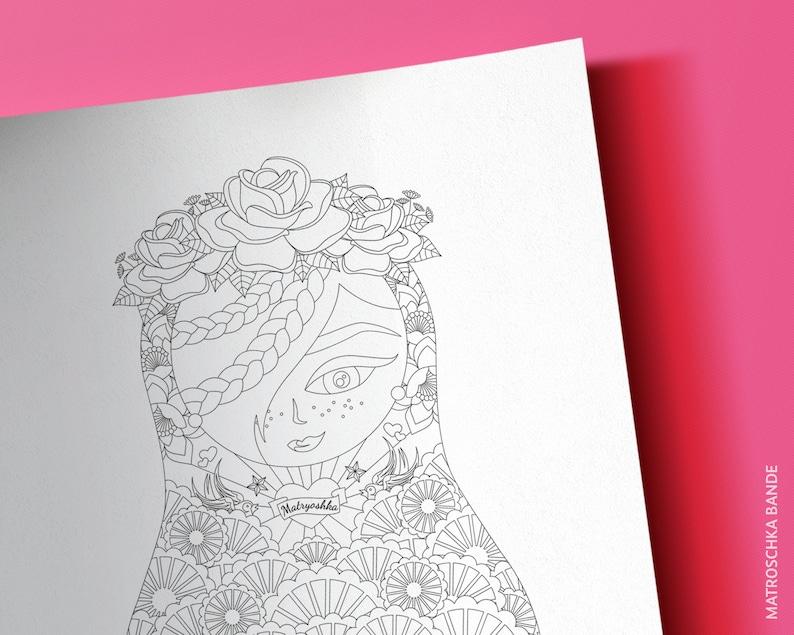 Download Ausmalbild A4 Matroschka Rosa Bohemian Tattoos Spitzenkleid Spitze Blumenkranz Hochzeit Grafik Zum Ausdrucken Und Ausmalen