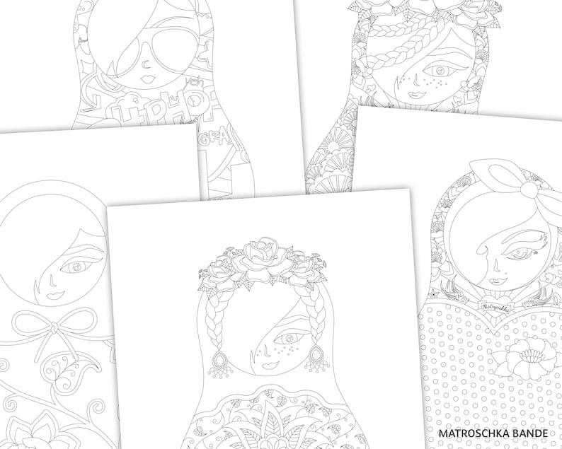 Download Set 5 Ausmalbilder A4 Matroschkas Pin Up Rockabilly Tattoos Graffiti Blumen Grafik Zum Ausdrucken Und Ausmalen