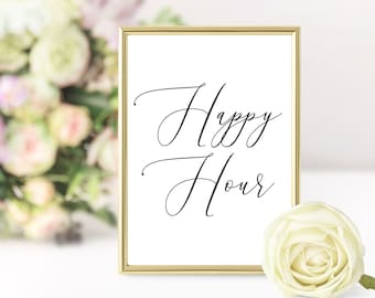1f4b657a107a Bridal Shower Happy Hour Download Bar Sign - Romantic Printable Wedding Bar  Sign - Instant Download Calligraphy Baby Shower Party Sign
