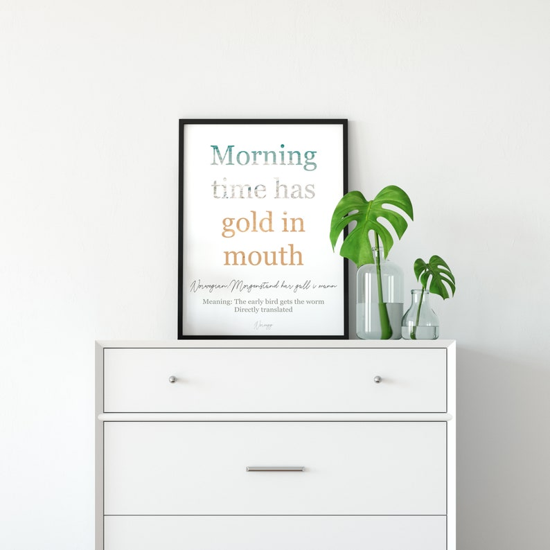 Good Morning Person Early Bird Quote - Early Bird Gets the Worm Norway Wall  Decor - Minimalist Gold Wall Art - Printable Quotes Home Kitchen