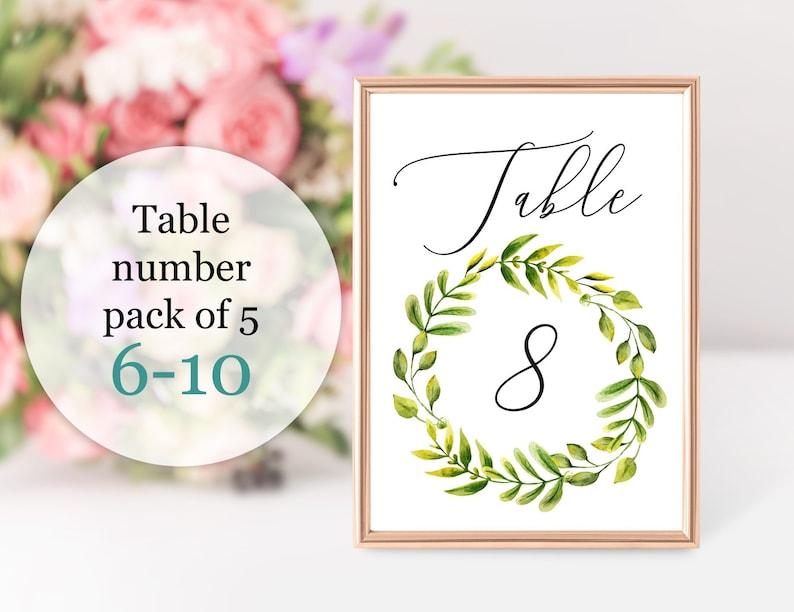 Astonishing 6 10 Greenery Wedding Table Number Rustic 5X7 Bridal Shower Digital Download Printable Watercolor Leaf Elegant Table Decor Pdf Au02 Interior Design Ideas Clesiryabchikinfo