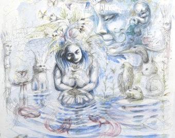 Sacred plants, laminate, painting, watercolor, visionary art