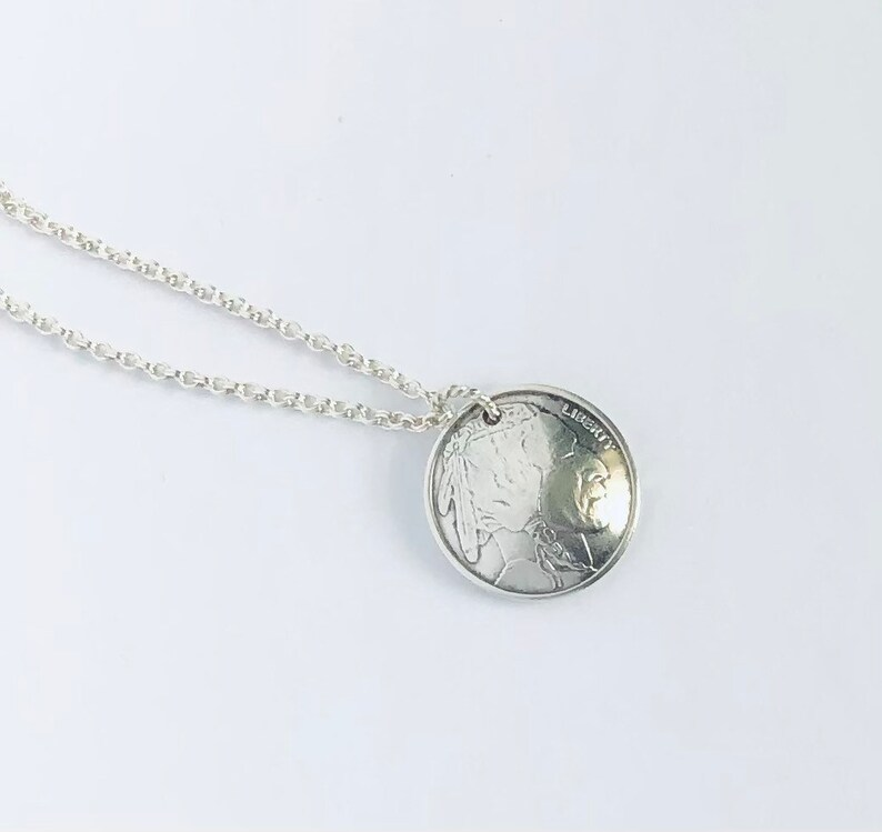 Indian Head Silver Round Necklace
