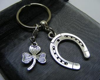 Lucky Horseshoe & Irish Shamrock Charm Keyring With Gift Bag - UK Seller (NC)