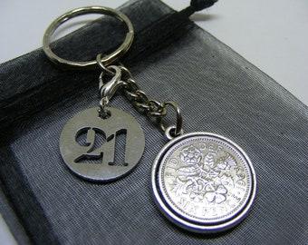 21st Birthday Double Sided Lucky Sixpence Coin Charm Keyring - Nice Birthday Gift & Keepsake (SK01) - UK Seller