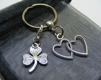 Double Love Heart & Irish Shamrock Charm Keyring With Gift Bag - UK Seller (NC)