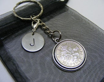 Personalised 1961 Lucky Sixpence Coin & Initial Charm Keyring - Choose Initial - Nice 60th Birthday Gift Present (SK00) - UK Seller