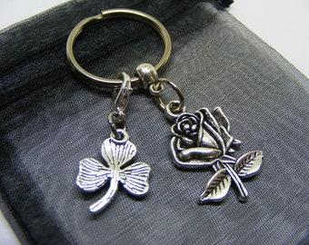 English Rose & Irish Shamrock Charm Keyring With Gift Bag - UK Seller (NC)