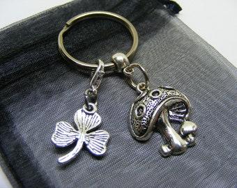 Mushroom Toadstool & Irish Shamrock Charm Keyring With Gift Bag - UK Seller (NC)